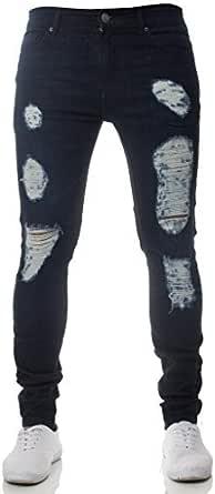 New Mens ENZO Super Stretch Skinny Jeans Ripped Distressed Designer Darkstone Wash 38 W X 30 S