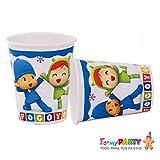 CAPRILO Lote de 24 Vasos de Cartón Infantiles Pocoyo y Niña. Vajillas y Cuberterías Desechables. Juguetes y Regalos de Cumpleaños, Bodas, Bautizos y Comuniones.