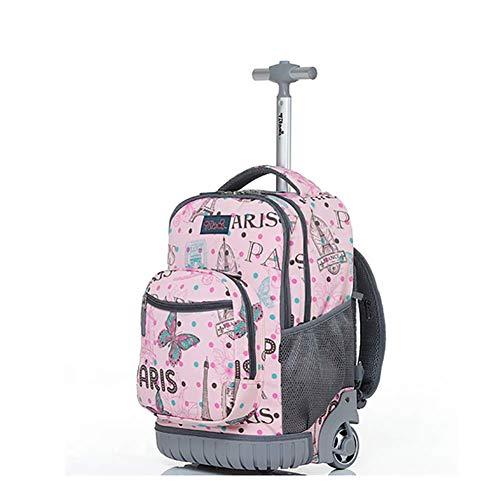 Rucksack auf Rädern, Schultasche mit Rädern 16inch Trolley Bag Wasserdicht Ultraleicht Gepäck Draussen Reise Camping,b (Gepäck Tragen Auf 16)