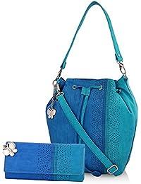Butterflies Women's Handbag and Wallet Combos' (Blue) (BNS WB0230)