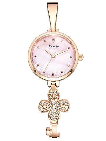 Alienwork Quartz Watch bracelet chain warp Wristwatch elegant stylish Metal pink rose gold YH.K6212S-04