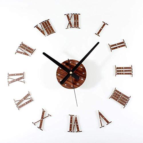 MTX Ltd Westlichen Stil Kreative Wand Dekoration 3D Nieten Roman Digital Kombination Wanduhr - Mode Kreative Schlafzimmer Wohnzimmer DIY Holz Uhr,1