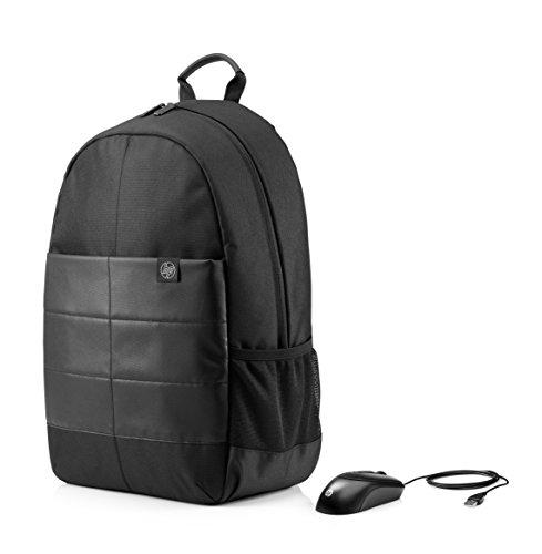 """HP Acccessori 1FK04AA Zaino per Notebook Fino a 39.62 cm (15.6""""), Mouse Ottico Incluso, Nero Impermeabile"""