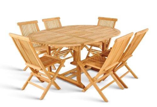 SAM 7 TLG. Gartengruppe Menorca Sitzgruppe aus 1 x Auszugstisch + 6 x Klappstühle, Stühle zusammenklappbar, Teak-Holz massiv