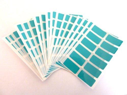 200 étiquettes, taille rectangulaire 25 x 12 mm Turquoise autocollants étiquettes autocollantes