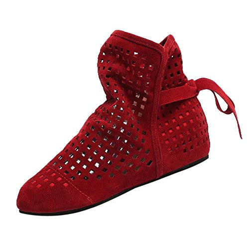 iefel Eben Niedrig Versteckte Keile Ausschnitt Stiefel Lässige Schuhe Süße Booties(rot,37) ()