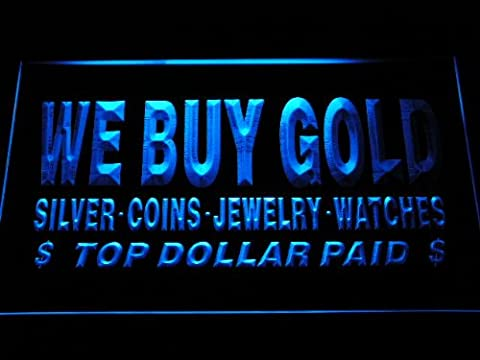 Enseigne Lumineuse i1002-b We buy Gold Silver Coins Jewelry Watches Top Dollar Paid Neon Light Sign