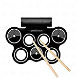 G'z Electronic Roll up Drum Kit Electric Drum Pads, Foot Pedals, Drumsticks, Power Supply, A, 1