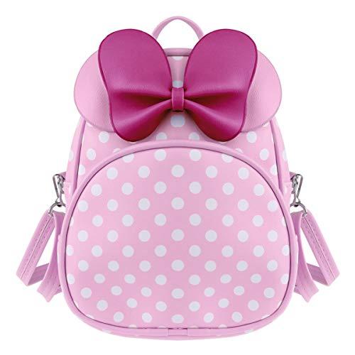 Tiaobug Mädchen Rucksack Mini Pu Leder Backpack Polka Dots Kindergartenrucksack mit Schleife Tasche Schulrucksack süße Umhängetasche Weiß gepunktet Rosa One Size