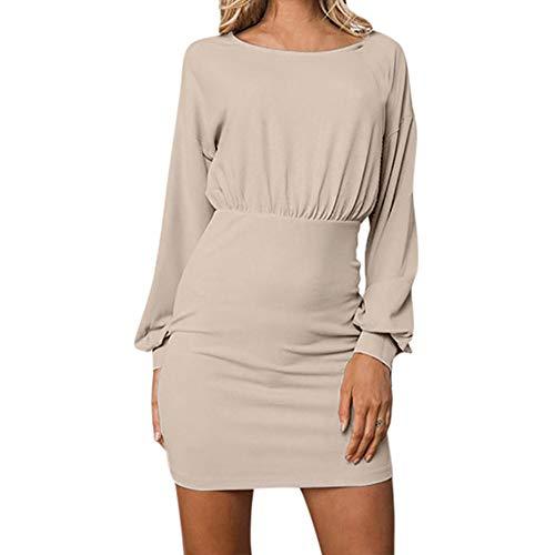 iHENGH Damen Frühling Sommer Rock Bequem Lässig Mode Kleider Frauen Röcke Frauen Sexy O-Neck Langarm Reine Farbe Backless Gesäß Kleid - Ribbed Knit Tunika