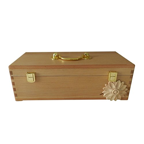 CVHOMEDECO. Beech Wood Essential Oils Storage Box & Carry Case with Brass Plated Steel Fittings and Engrave Flower Design. 36,8 x 14,0 x 12,1 cm -