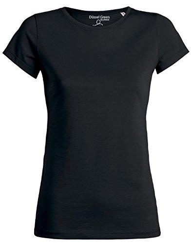Amy Damen Basic T-Shirt aus 100% Bio-Baumwolle mit Rundhalsausschnitt und taillierte Passform, Bio Kurzarmshirt, Organic Cotton (M, Schwarz) - Basic-100% Baumwolle T-shirt