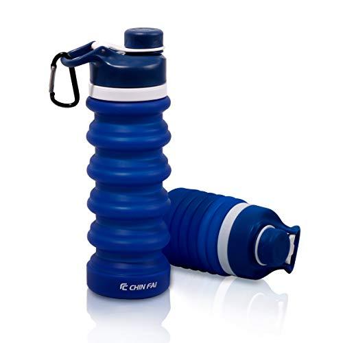 CHIN FAI Faltbare Wasserflasche für Lebensmittel, FDA-Zertifiziert, BPA-frei, auslaufsicher, tragbare Reise- und Sportwasserflasche, 550 ml |18,6 Oz (Blau)