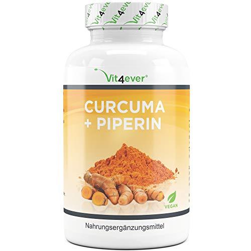 Vit4ever® Curcuma + Piperin - 360 Kapseln je 750 mg - 4500 mg Kurkuma pro Tagesportion - 5% Curcumin Extrakt - Schwarzer Peffer Extrakt - Laborgeprüft - Vegan - Hochdosiert