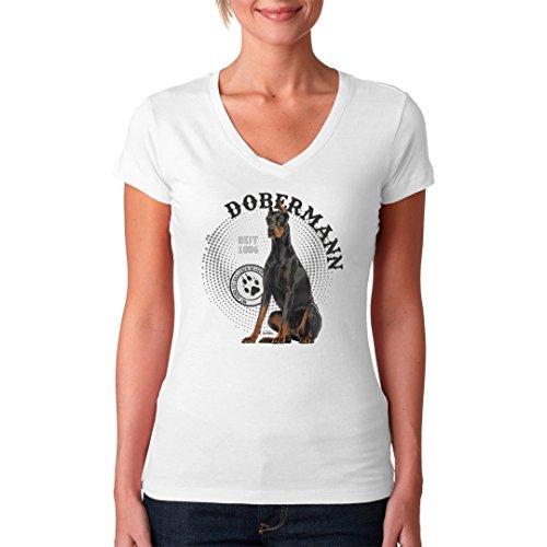 Im-Shirt - Hunde Motiv: Dobermann Foto Spots cooles Fun Girlie Shirt - verschiedene Farben Weiß