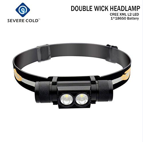 Stirnlampe 2X Cree LED, Alu, 6000lm, wasserdicht, super hell, extrem robust, LI-Akku, USB wiederaufladbar