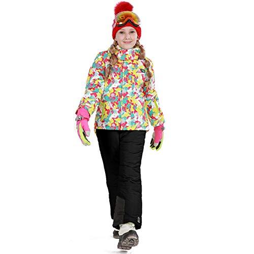 LPATTERN Traje de Esquí para Niños/Niñas Traje Conjunto de Nieve Impermeable para Deportes de Invierno, Rosa+Negro A, Talla:116-122/5-6 años