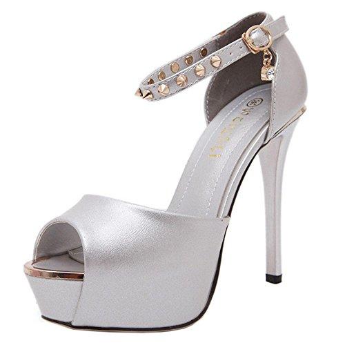 COOLCEPT Mode Femmes Talon Aiguille Escarpins Sangle de cheville Party Court Shoes Plateforme Peep Toe silver