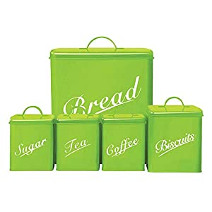 Home Discount 5 Piece Kitchen Storage Canister Set Biscuits Tea Coffee Sugar Bread Bin, Lime FREE DELIVERY