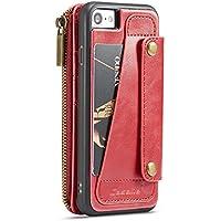Preisvergleich für iPhone 7 Hülle, iPhone 8 Hülle, TechCode Magnetische abnehmbare Premium Luxus PU Leder Retro Vintage Smart Zipper...