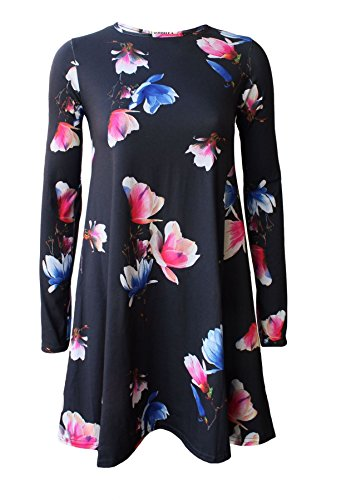 RIDDLEDWITHSTYLE - Robe - Femme * taille unique BLACK TULIP PRINT SWING DRESS
