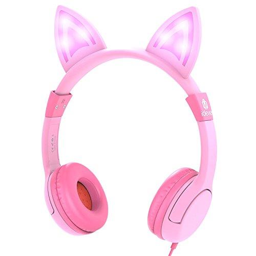 Kinder Kopfhörer, iClever Kinder Kopfhörer mit einstellbaren LED Lichtern Katzen-ähnlichen Ohren, verkabelte Over-Ear Kopfhörer, 85dB Lautstärkenlimit, Halloween- & Weihnachtsgeschenk für Kinder, Pink (Rosa)