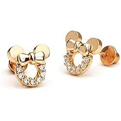findout plata de ley bañado en oro rosa circonitas cúbicas hueca Mickey ratón de cristal blanco pendientes. Para las mujeres niñas (f1784)