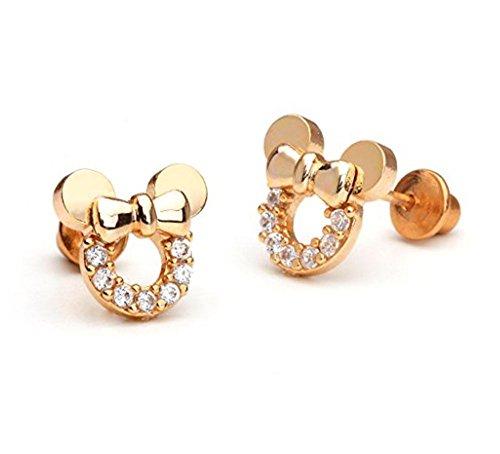 Findout Rose vergoldet Sterling Silber Cubic Zircons weißen Kristall hohlen Mickey Mouse Ohrringe. For Frauen Mädchen (f1784)