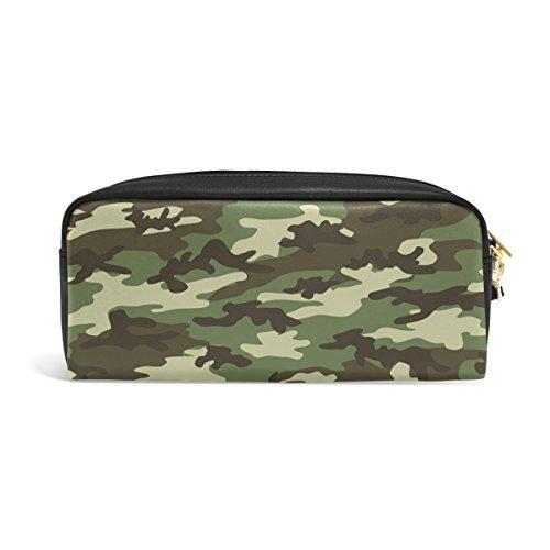 Domoko Military Camouflage Camo PU Leder Pen Pouch Federmappe Fall Make-Up Kosmetik reisen Schule Tasche - Camo Leder Stift