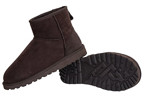 OZZEG En peau de mouton bottes d'hiver mode cheville masculine conçue Café