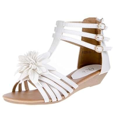 Damen Schuhe, SANDALETTEN, RIEMCHEN PUMPS BLUMEN DEKO, 9539-KL, Synthetik in hochwertiger Leder Optik, Weiß, Gr 41
