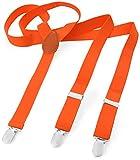 Herren Damen Long Hosenträger Y Form Style 3er Clips elastisch Schmal Unifarbe und Bunt mit verschiedenen Motiv, Orange (Neonorange),Gr. One Size