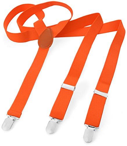 Long Pantalon bretelles pantalon Femme pour bretelles Y Forme style 3clips élastique fin uni couleur Orange - Orange fluo