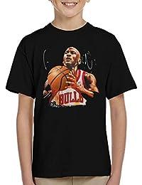 Sidney Maurer Original Portrait of Michael Jordan Bulls White Jersey Kids T-Shirt