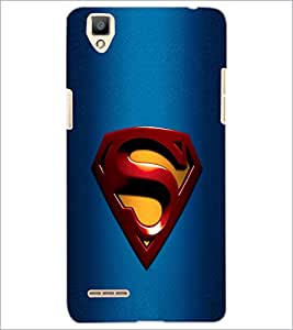 PrintDhaba Superman Logo D-2087 Back Case Cover for OPPO F1 (Multi-Coloured)