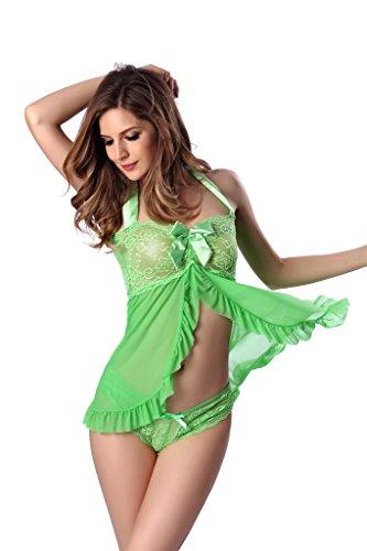 Zhuhaixmy Multi-size sexy Spitzenunterwäsche transparenter Spitze Riemen Ärmel Pyjamas Green