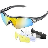 Gafas de sol Ciclismo Polarizadas de OMorc, Gafas Deportivas Polarizadas con 5 Lentes (1 lentes polarizada y 4 lentes común), 100% UV 400 Protection, para Hombres, Mujeres, Bicicleta, Jogging, Conducir, Pesca, Carreras, Escalada, Esquí-Gris