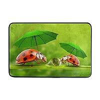 Use7 Cute Ladybug with Umbrella Doormat Indoor Outdoor Entrance Floor Mat Bathroom 60 x 40 cm