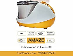 Vijayalakshmi Amaze 2-Litre Table Top Wet Grinder - Yellow