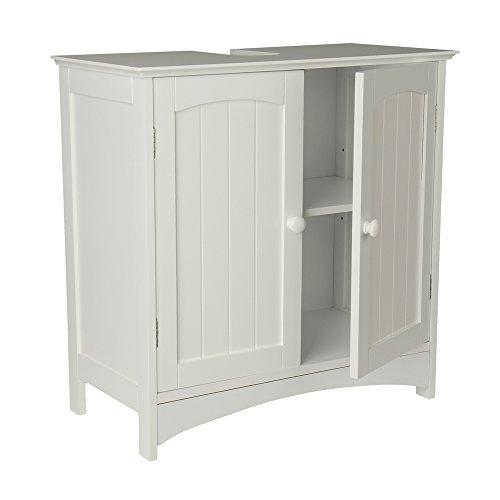 Waschtischunterschrank Holz MDF weiß 30 x 60 x 30 cm | Aussparung für Siphon | verstellbarer Einlegeboden