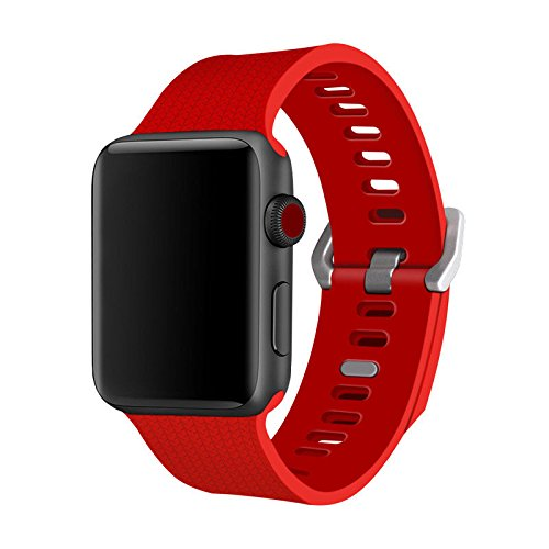Generic Herringbone Sports Silikon Smart Watch Band Armband Strap für Apple Watch 123, Mädchen Damen Jungen Unisex Herren, rot, Apple iWatch 42mm (Herringbone-band)