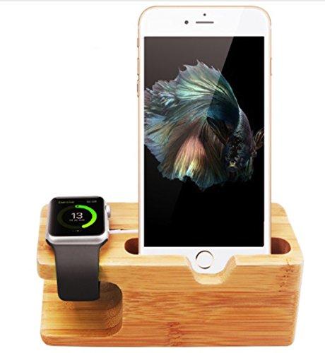 Evst Support en bambou 2en 1 pour Apple Watch et iPhone –Station de chargement et support pour Apple Watch 38 x 42mm et iPhone 6,6Plus, 5S, 5