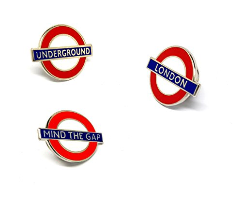 TFL Transport for London Souvenirs LONDON Roundel, Underground Log,o Mind the Gap Sign, | High Quality Metal Enamel Pin Badge Lapel Brooch Novelty Collectable Gift Jewellery for Clothes Shirt Jackets Coats Tie Hats Caps Bags Backpacks