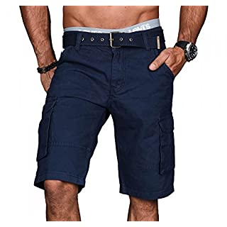 A.Salvarini Stylische Herren Cargo Short inkl. Gürtel Sommer Bermuda Kurze Hose Army Shorts AS-037 [AS037 - Navy - W34]