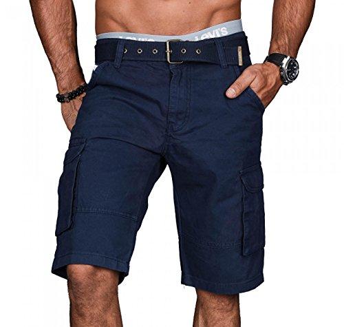 A.Salvarini Stylische Herren Cargo Short inkl. Gürtel Sommer Bermuda Kurze Hose Army Shorts AS-037 [AS037 - Navy - W38]