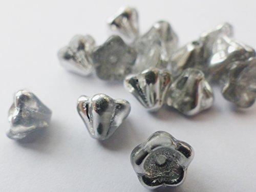30(PCS) X 8(mm) Tschechische Glas Trompete Blume Bell Cup Perlen–Silber Beschichtet Kristall–W013