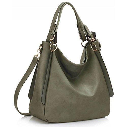 Trendstar Damenhandtaschen Damenmode Designer Umhängetaschen Faux Leder Mode Hobo AB - Grau