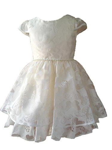 Taufkleid Festkleid Blumenmädchen Kleid ivory o rosa (1-2A (86/92), Ivory)