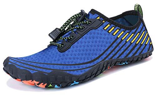 Wonesion Wasserschuhe Strandschuhe Schnell Trocknend Aquaschuhe Barfuss Surf Schuhe Schwimmschuhe fur Herren Damen, 157-Blau,38 EU