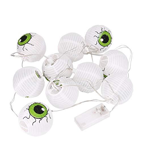 Prevently Halloween Lichterkette Halloween weiß grün Auge Vlies Dekorative Schnur Lichter für Halloween Party Decor Halloween Lichterketten 2.3M 10LED